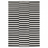 СТОКГОЛЬМ Ковер безворсовый, ручная работа, в полоску черный/белый с оттенком, 170x240 см